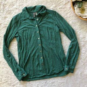 f0cf0ded4d4 Ibex Green Button Down Merino Wool Top